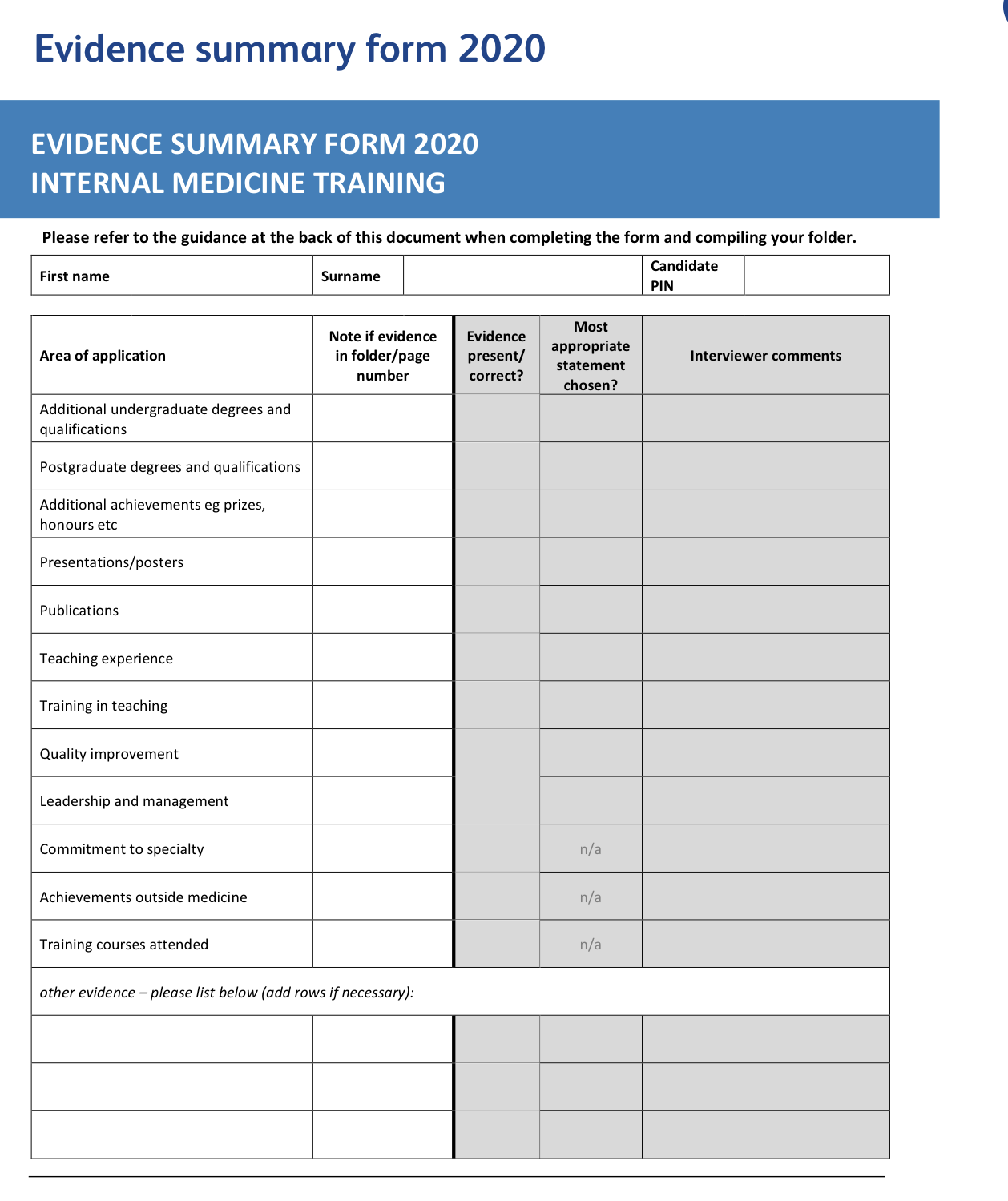 IMT Evidence summary form